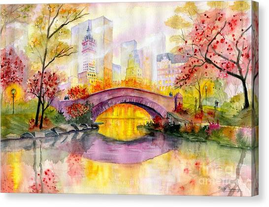 Central Park Canvas Print - Autumn At Gapstow Bridge Central Park by Melly Terpening