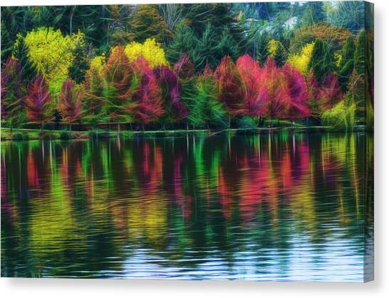 Autumn At Green Lake Seattle Canvas Print