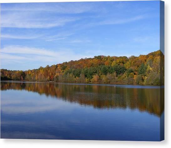 Autumn At Lake Mohegan Canvas Print by Margie Avellino