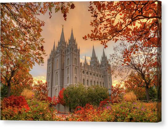 Autumn At Temple Square Canvas Print