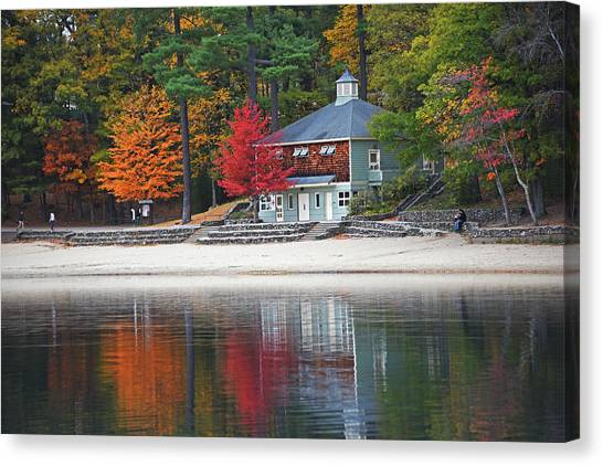 Walden Pond Canvas Print - Autumn At Walden Pond Fall Trees Concord Ma by Toby McGuire
