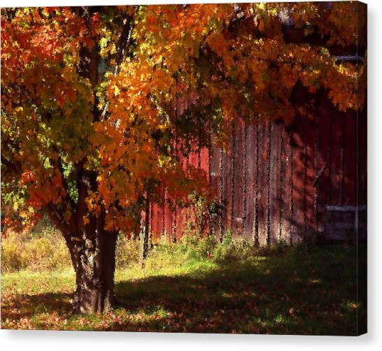 Autumn Barn Canvas Print by Barry Shaffer