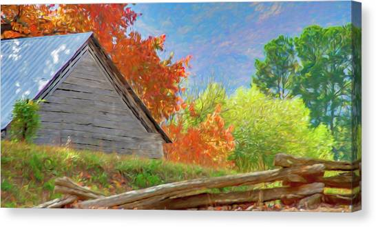 Autumn Barn Digital Watercolor Canvas Print