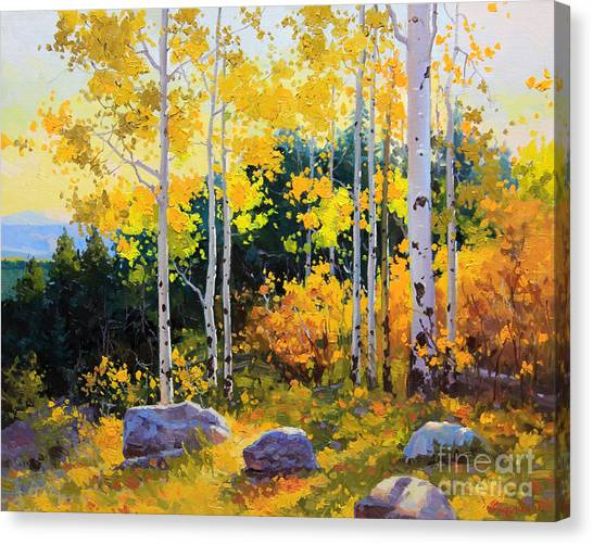 Oil On Canvas Print - Autumn Beauty Of Sangre De Cristo Mountain by Gary Kim