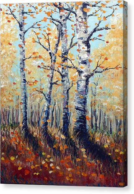 Autumn Birch Canvas Print by Wesley Pack