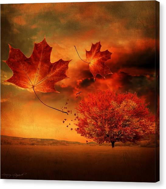 Falling Leaf Canvas Print - Autumn Blaze by Lourry Legarde