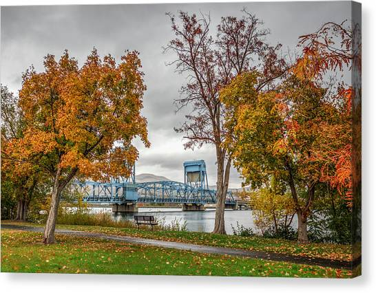 Autumn Blue Bridge Canvas Print