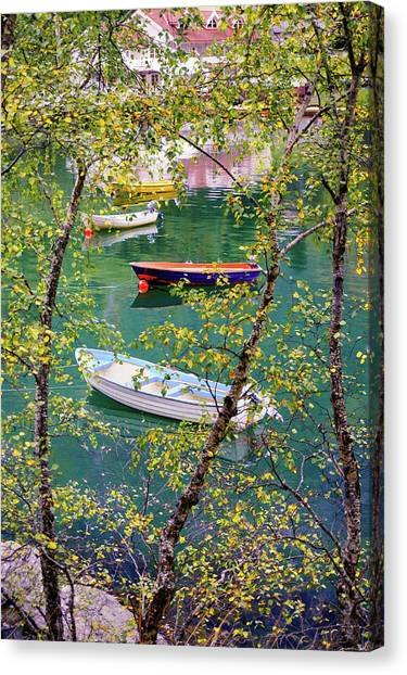 Autumn. Boats Canvas Print
