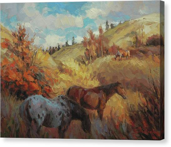 Equine Canvas Print - Autumn Browsing by Steve Henderson