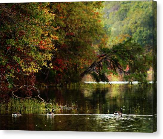 Autumn By The Lake Canvas Print by Scott Fracasso
