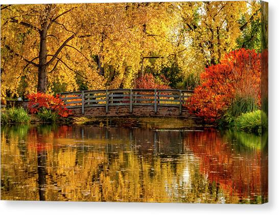 Autumn Color By The Pond Canvas Print