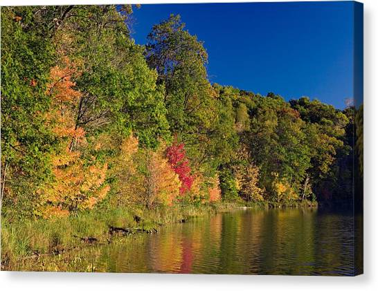 Colorful On Canvas Print - Autumn Color Trees Along Beauty Lake by Panoramic Images