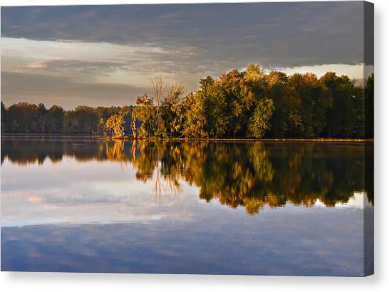 Autumn Colors On The Savannah River Canvas Print by Michael Whitaker