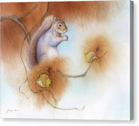 Squirrels Canvas Print - Autumn Come Softly Squirrel by Tracy Herrmann