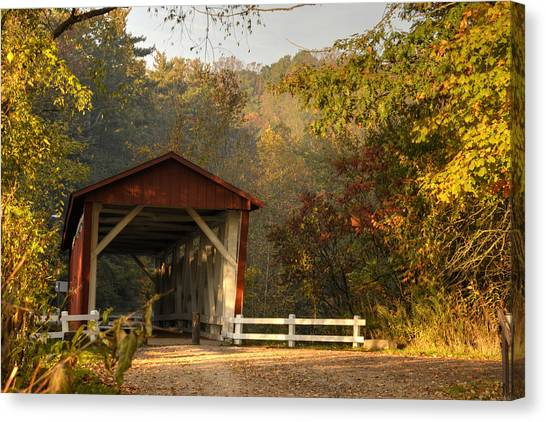 Autumn Covered Bridge Canvas Print
