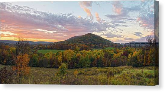 Autumn Dawn At Moodna Viaduct Trestle Panorama  Canvas Print