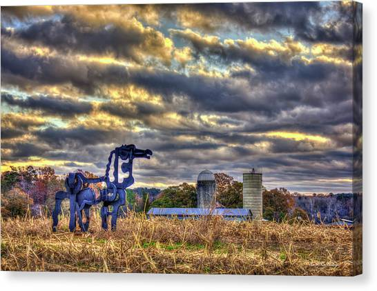 University Of Georgia Canvas Print -  Autumn Dawn The Iron Horse Collection Art by Reid Callaway