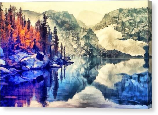 Autumn Day On The Lake. Canvas Print
