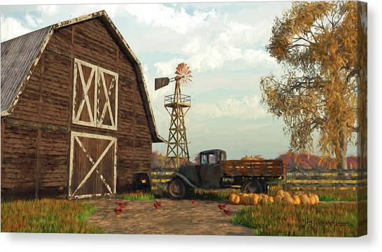 Autumn Farm Scene Canvas Print