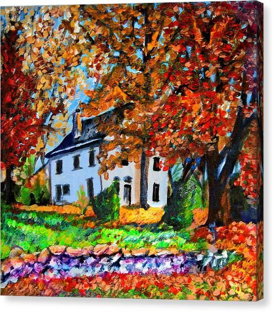 Autumn Farmhouse Canvas Print by Laura Heggestad