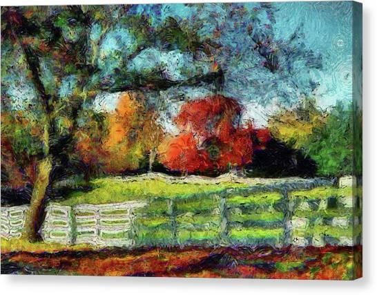 Autumn Field On The Farm Canvas Print
