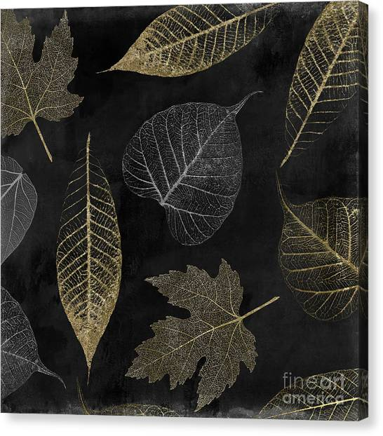 Silver Leaf Canvas Print - Autumn Gold Leaf Pattern by Mindy Sommers