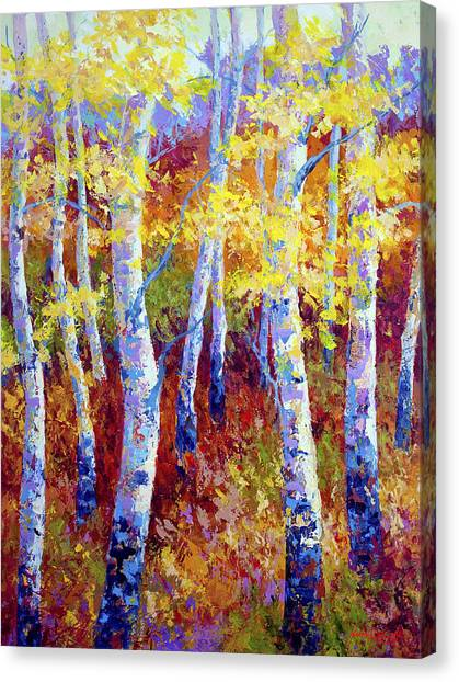 Aspen Tree Canvas Print - Autumn Gold by Marion Rose