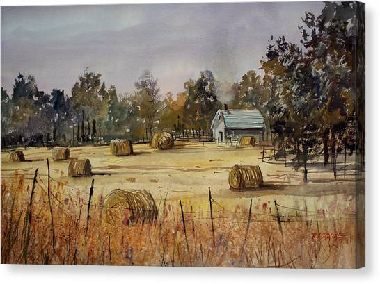 Hay Bales Canvas Print - Autumn Gold by Ryan Radke
