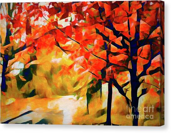 Glorious Foliage On The Rail Trail - Abstract Canvas Print