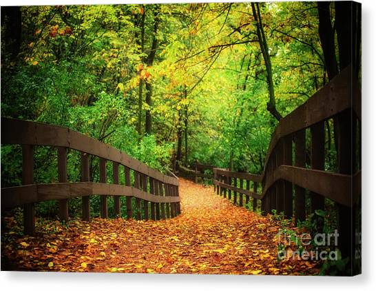 University Of Wisconsin - Madison Canvas Print - Autumn In Eau Claire by Katya Horner