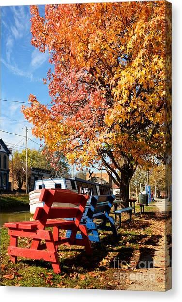 Indiana Autumn Canvas Print - Autumn In Metamora Indiana by Mel Steinhauer