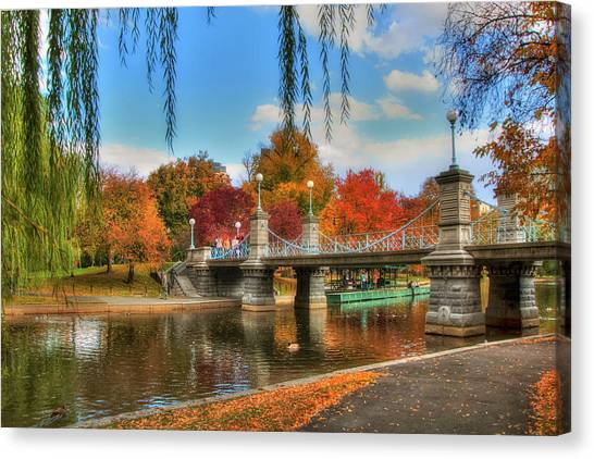 Autumn In The Public Garden - Boston Canvas Print
