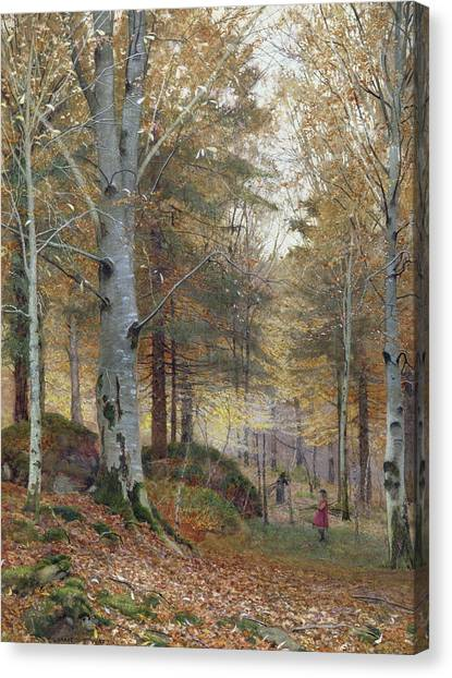 Mossy Forest Canvas Print - Autumn In The Woods by James Thomas Watts