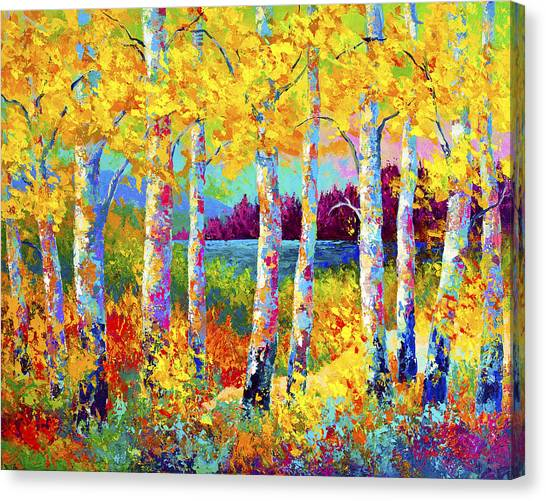 Birch Canvas Print - Autumn Jewels by Marion Rose