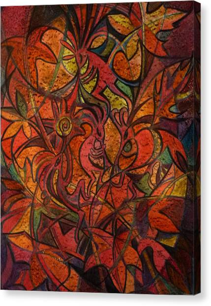 Autumn Kokopelli Canvas Print