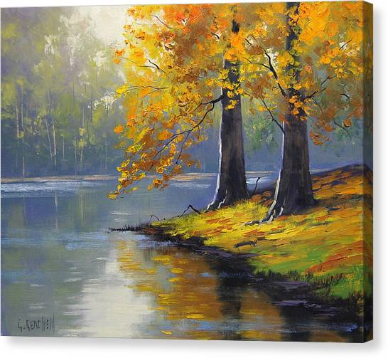 Maple Trees Canvas Print - Autumn Lake Print by Graham Gercken