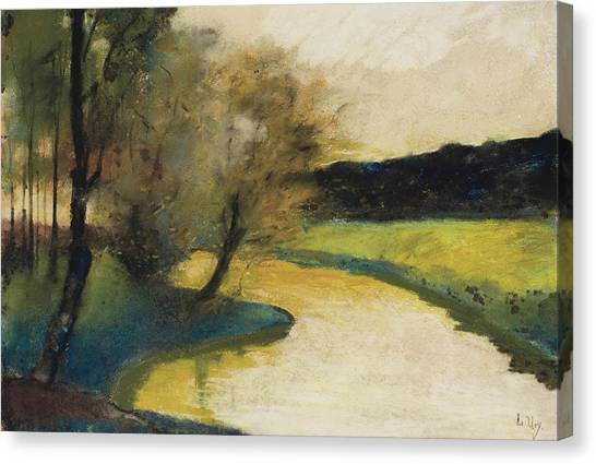 Jewish Painter Canvas Print - Autumn Landscape Of Brook In The Evening Light by Lesser Ury
