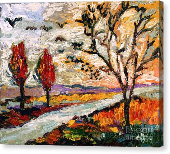 Autumn Landscape Oil Painting Heading South Canvas Print by Ginette Callaway