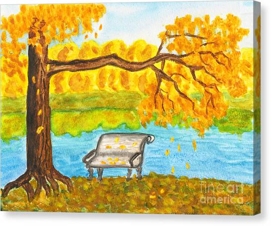 Autumn Landscape With Tree And Bench, Painting Canvas Print