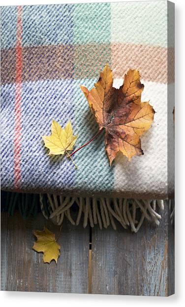 Autumn Leaves On Wool Plaid Blanket Canvas Print
