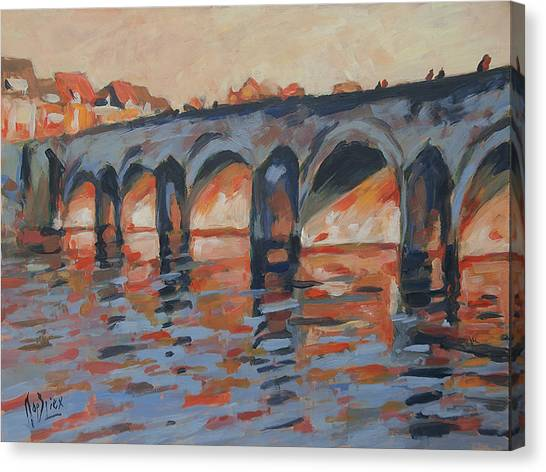 Briex Canvas Print - Autumn Light Through The Saint Servaas Bridge Maastricht by Nop Briex