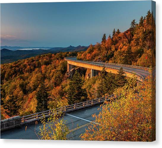 Morning Sun Light - Autumn Linn Cove Viaduct Fall Foliage Canvas Print