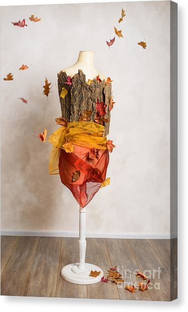 Dummies Canvas Print - Autumn Mannequin With Falling Leaves by Amanda Elwell