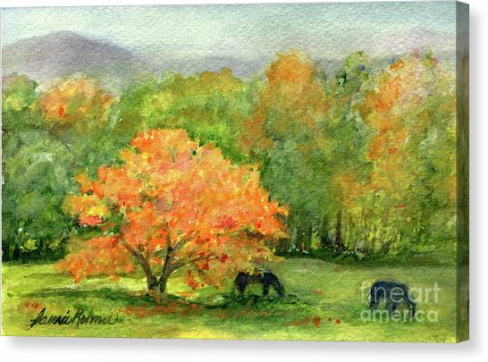 Autumn Maple With Horses Grazing Canvas Print