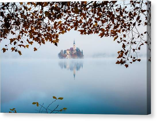 Autumn Mist Over Lake Bled Canvas Print