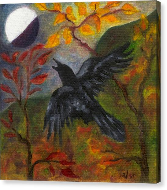 Autumn Moon Raven Canvas Print