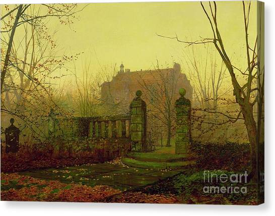 The Haunted House Canvas Print - Autumn Morning by John Atkinson Grimshaw