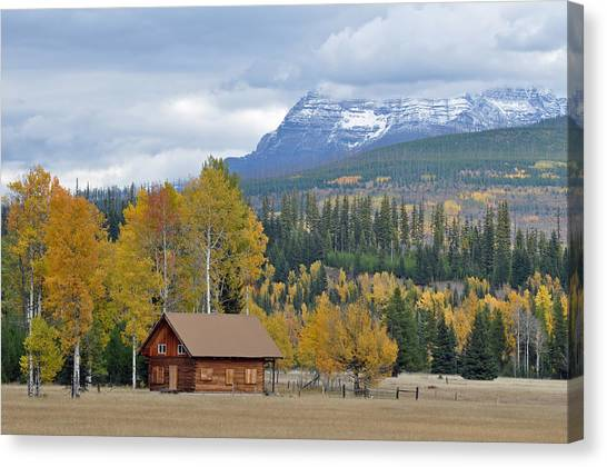 Autumn Mountain Cabin In Glacier Park Canvas Print