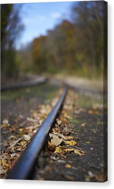 Autumn On The Rails Canvas Print by Matt Veldey