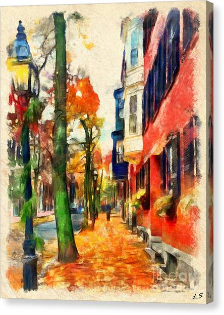 Patriot League Canvas Print - Autumn On The Streets Of Boston by Sergey Lukashin